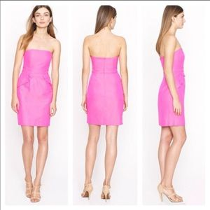 J.Crew Hot Pink Ruffle Pockets Strapless Dress 10
